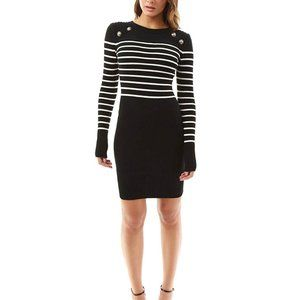NWOT PATTYBOUTIK Black White Stripe Sailor Dress L